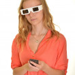 Young beautiful woman with 3d glasses — Stock Photo