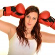 Sport young woman in boxing gloves — Stockfoto