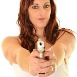 Sexy detective woman holding aiming gun — Stock Photo #35093333