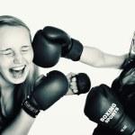 Two women boxing — Stock Photo