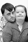 Down syndrome couple — Stock Photo