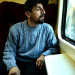 Man in the train — Stock Photo