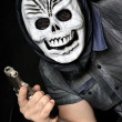 Masked robber with gun — Stock Photo