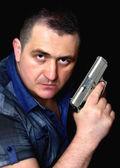 Rapinatore con pistola — Foto Stock