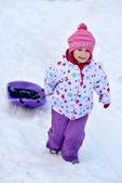 Happy girl Sledding, winter fun, snow, family sledding — Stock Photo