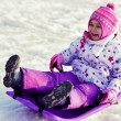Foto Stock: Sledding, winter fun, snow, family sledding