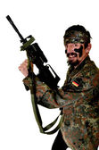 Angry Soldier Holding Gun On White Background — Stock Photo