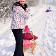 Mother and daughter sledging, nice winter scene — Stock Photo #39874207