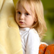 Pretty little girl with blanket — Stock Photo #40180609