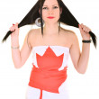 Woman Canadian supporter — Stock Photo