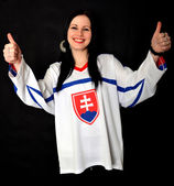 Woman Slovakian Fan — Stock Photo