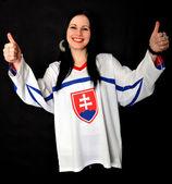 Kadın Slovakça fan — Stok fotoğraf