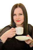 Woman holding cup of tea or coffee — Stock Photo