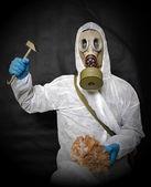 Survivor in gas mask — Stock Photo