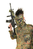 Soldier man and machine gun — Stock fotografie