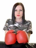 Woman boxer — Стоковое фото