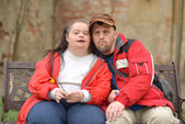 Down syndrome couple — Photo