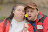 Down syndrome couple — 图库照片