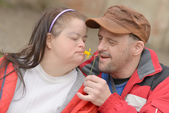 Down syndrome couple — Foto de Stock