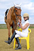 Woman Rider at the horse show — Stock Photo