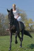 Bride ridding a horse. — Stock Photo