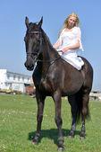 Mariée à débarrasser un cheval. — Photo
