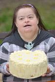 Woman with birthday cake — Stock Photo