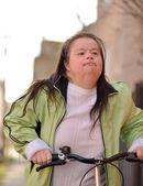 Woman and Trike — Zdjęcie stockowe