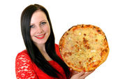Woman holding pizza — Stock Photo