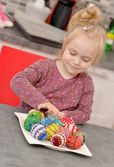 Girl and Easter Eggs — Stock Photo