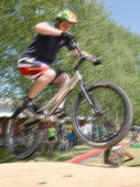 Biker jumping — Stock Photo