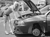 Girl posing at sports car. — Stok fotoğraf