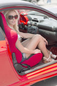 Woman sitting in the sport car — Foto Stock