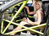 Woman in sport car — Stok fotoğraf
