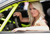 Woman in sport car — Stock Photo