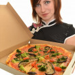 Portrait of young woman with pizza — Stock Photo #9157084
