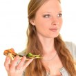 Woman with pizza — Stock Photo #9357566