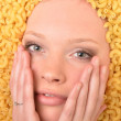 Portrait of a young beautiful woman in pasta — Stock Photo #9492506