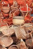 Many beautiful wicker baskets — Stock Photo