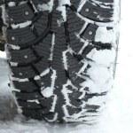 Winter tire in snow — Stock Photo #13435063