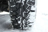 Winter tire in snow — Stock Photo