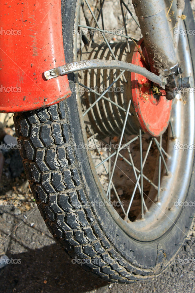 Wheel motorcycle close up  Stock Photo #13590701