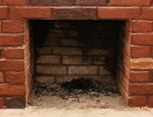 Backdrop of a brick fireplace wall — Stock Photo