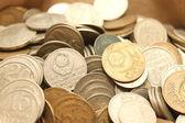Mince pozadí, staré mince z různých období — Stock fotografie
