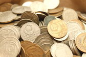 Mynt bakgrund, gamla mynt från olika perioder — Stockfoto