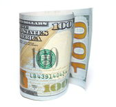 One hundred new dollars closeup on white background — Stock Photo