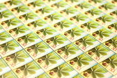 Many beautiful modern postage stamps closeup — Stock Photo