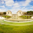 Stock Photo: Long exposure panoramof gardens of Trocadero, Paris