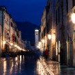 Night shot of the main street of Dubrovnik, Croatia — Stock Photo