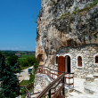 Orthodox monastery excavated in rocks view from above — Stock Photo #21743877